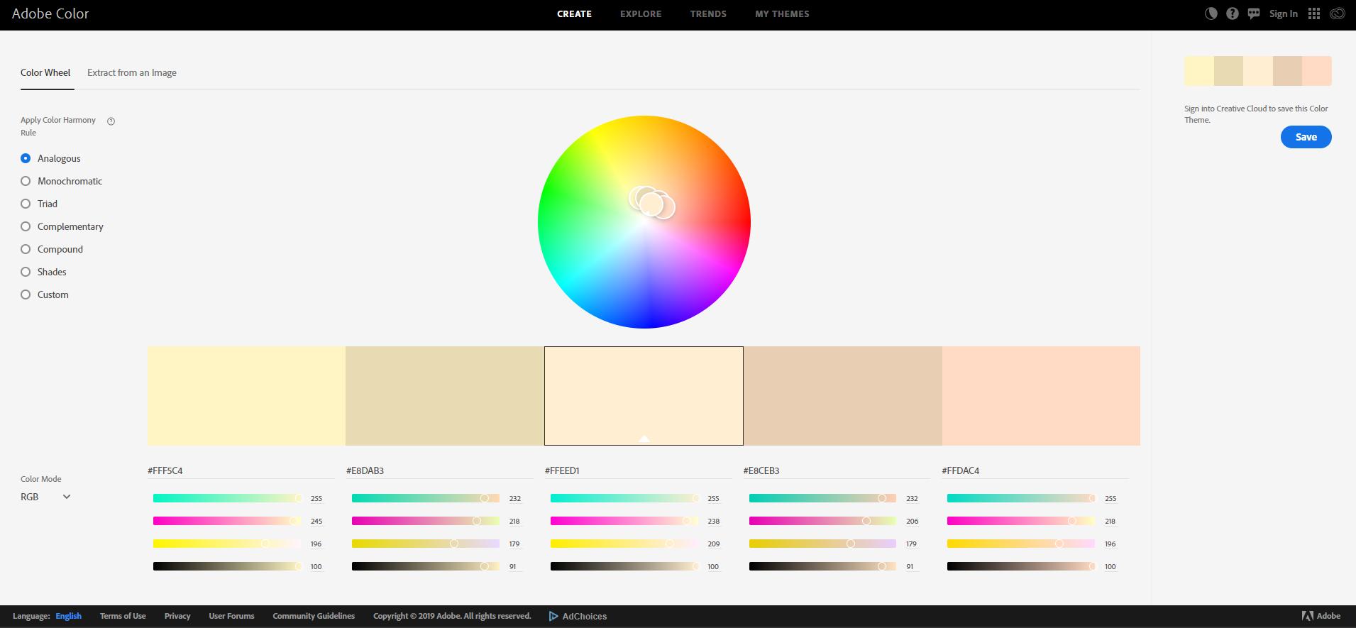 Adobe Colour Wheel