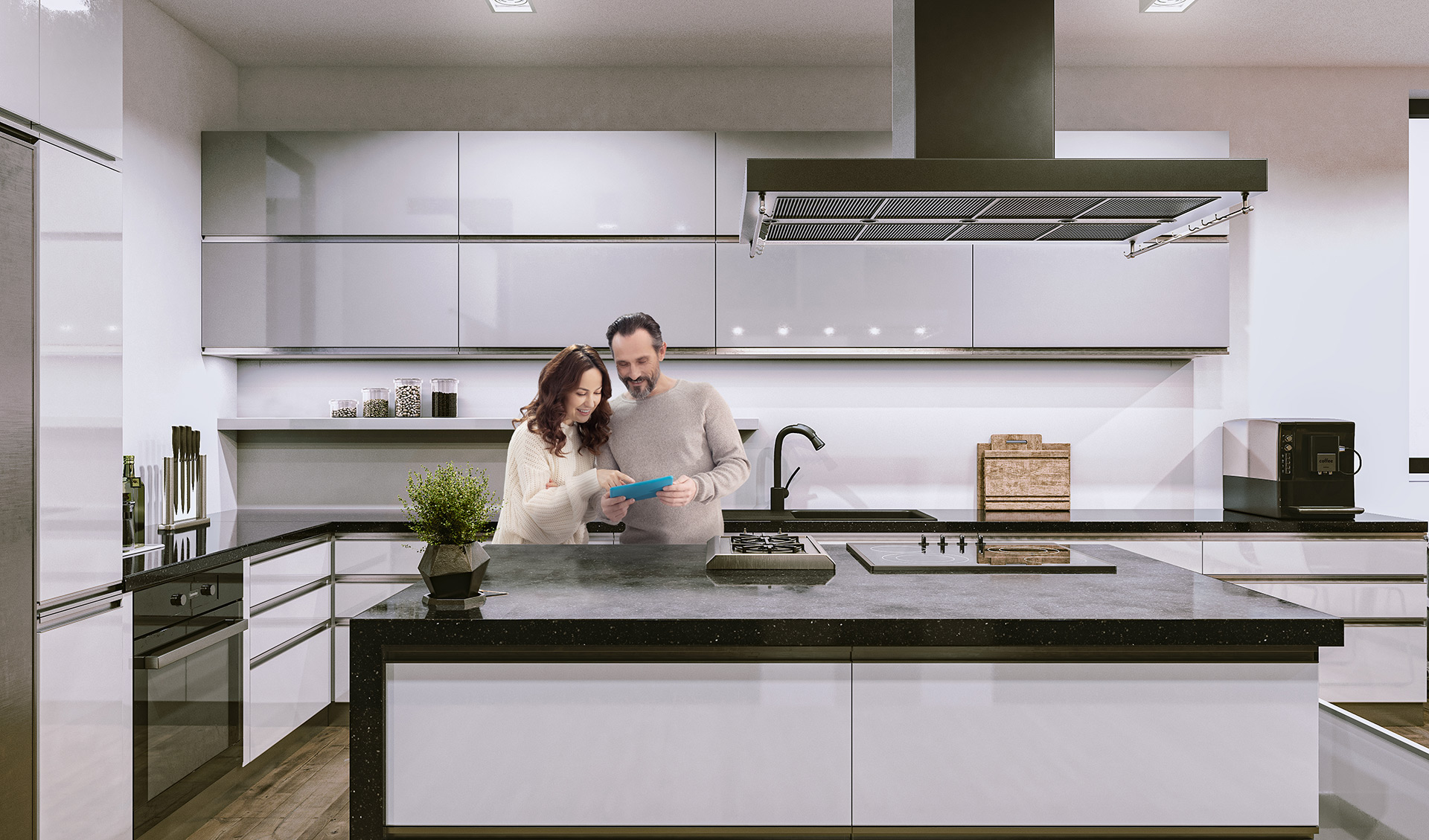 Interior Rendering Kitchen With People