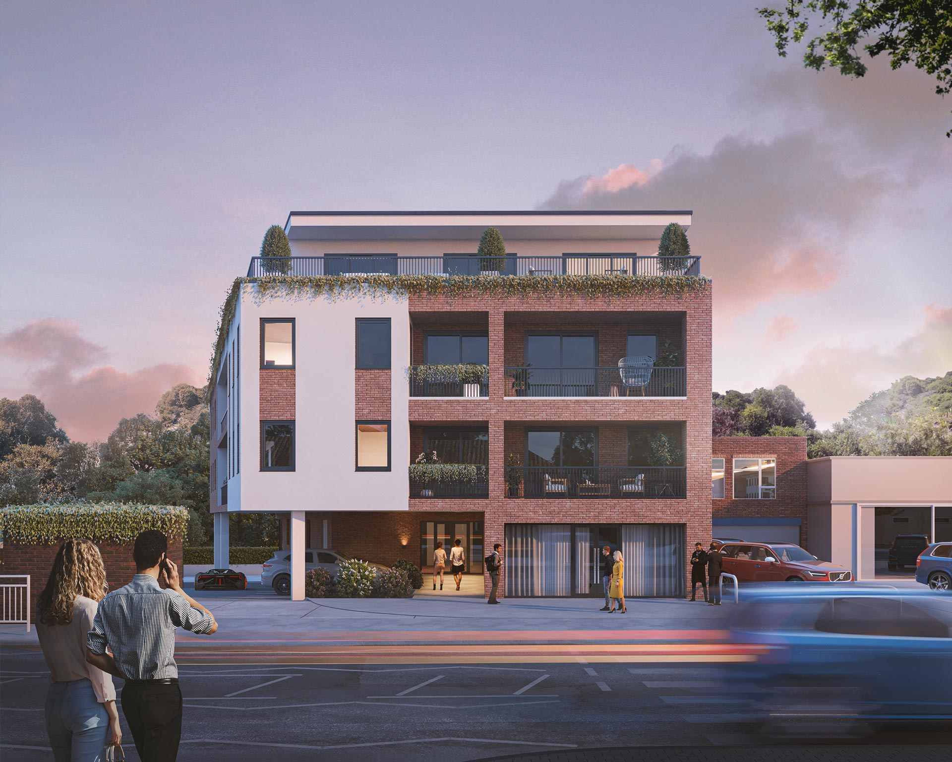 Chigwell Dusk Exterior Architectural Render