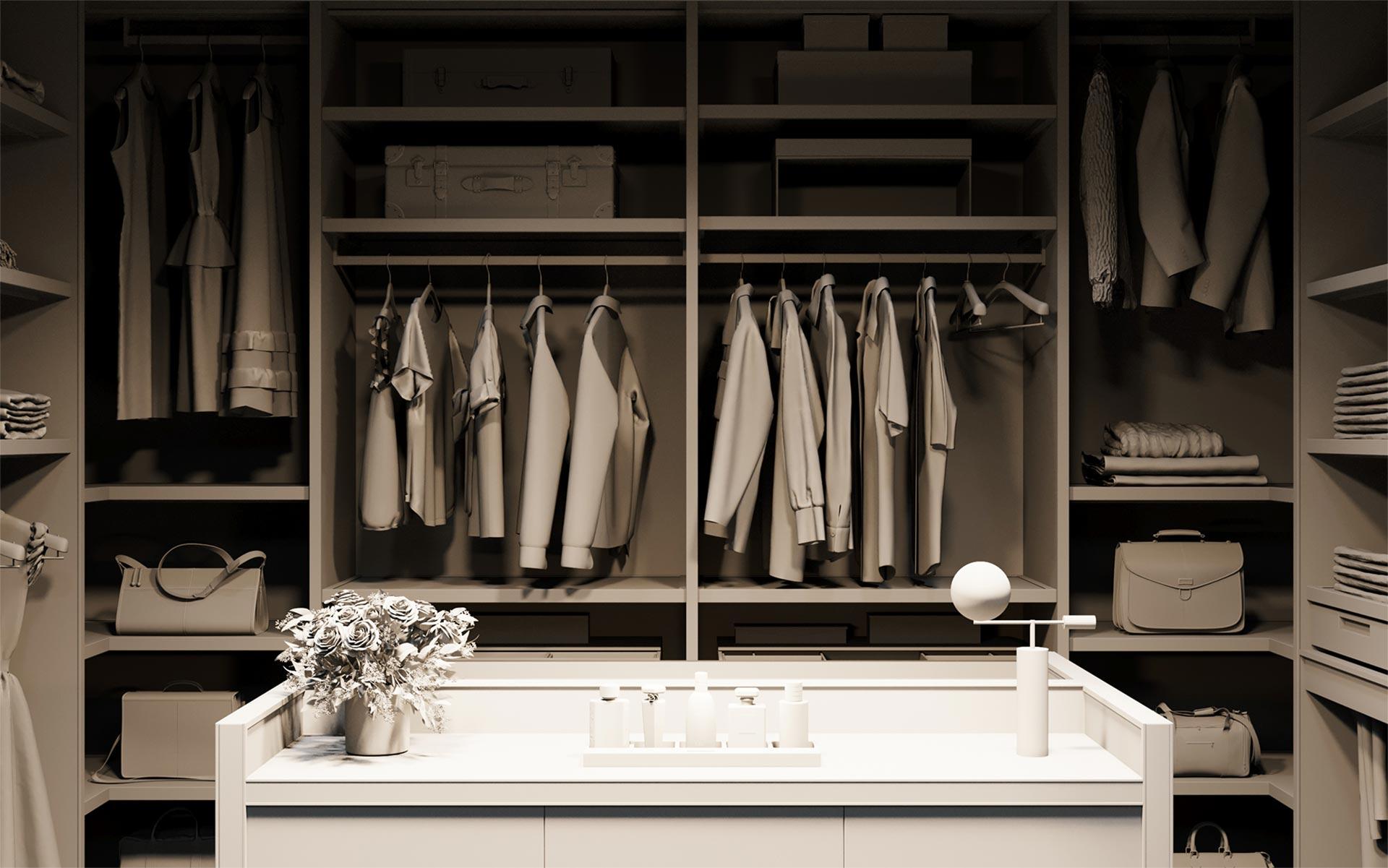 Bakare Wardrobe Interior Product Grey Render