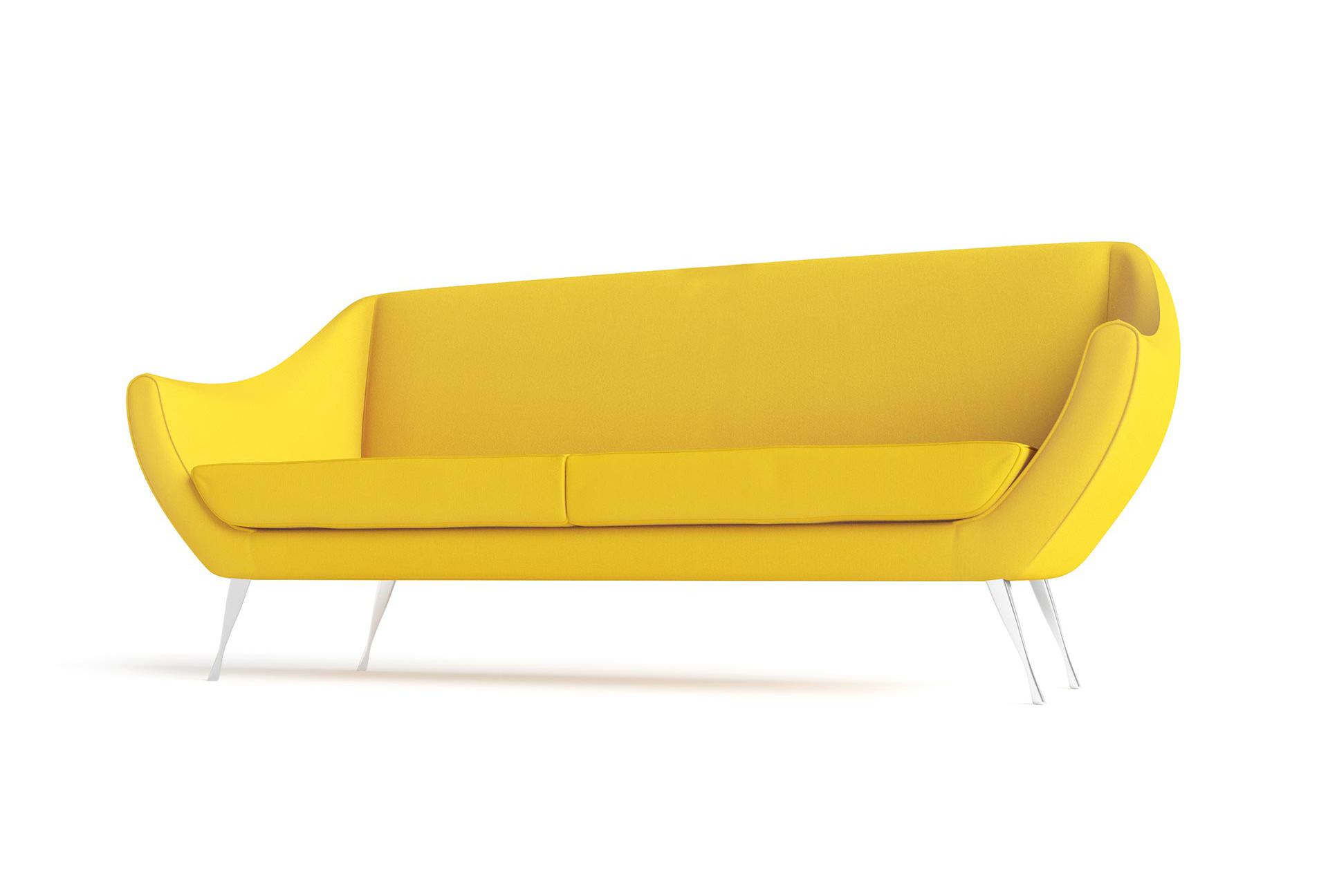 Rita Large Sofa Hero Furniture Rendering Yellow