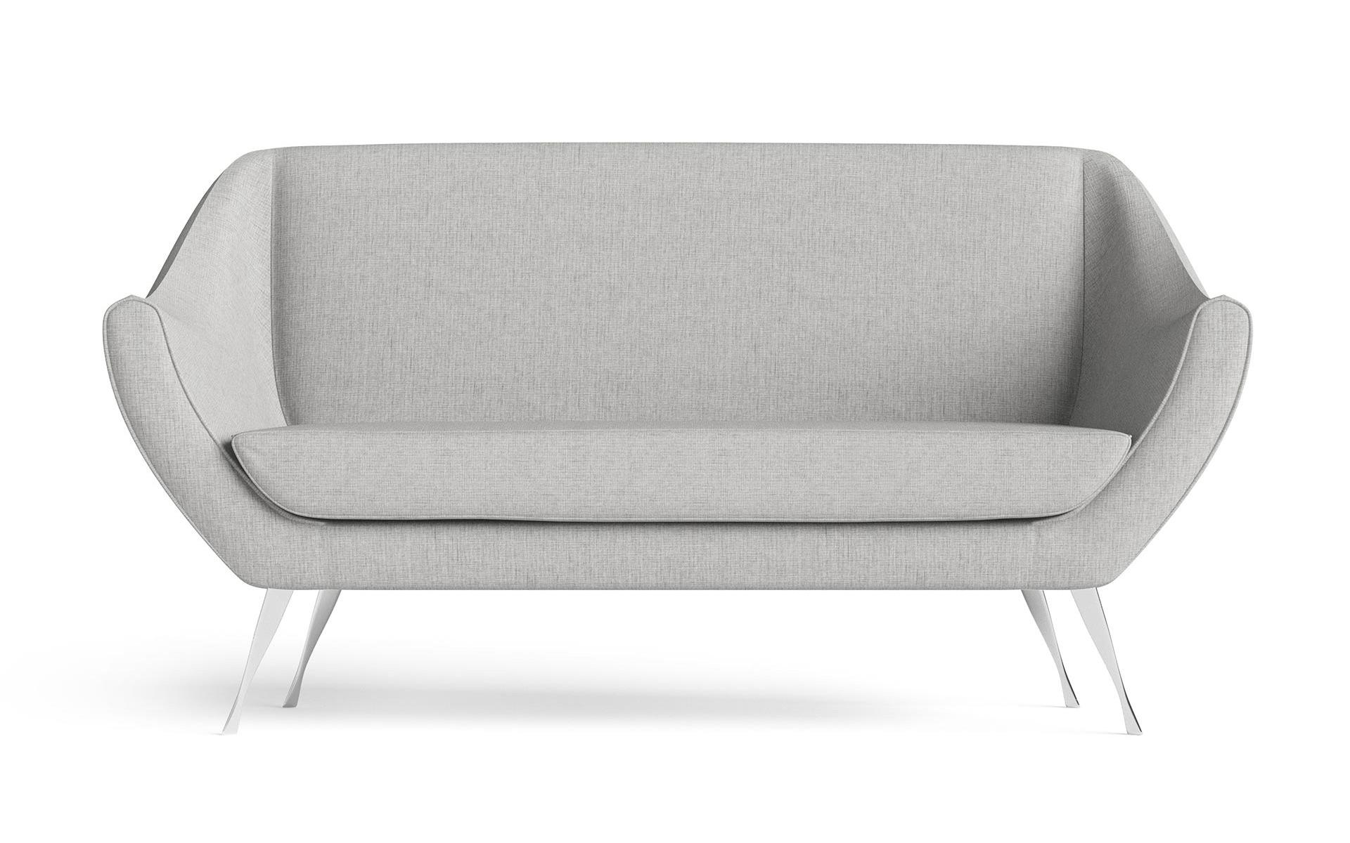 Rita Small Sofa Front CGI Rendering Light Grey