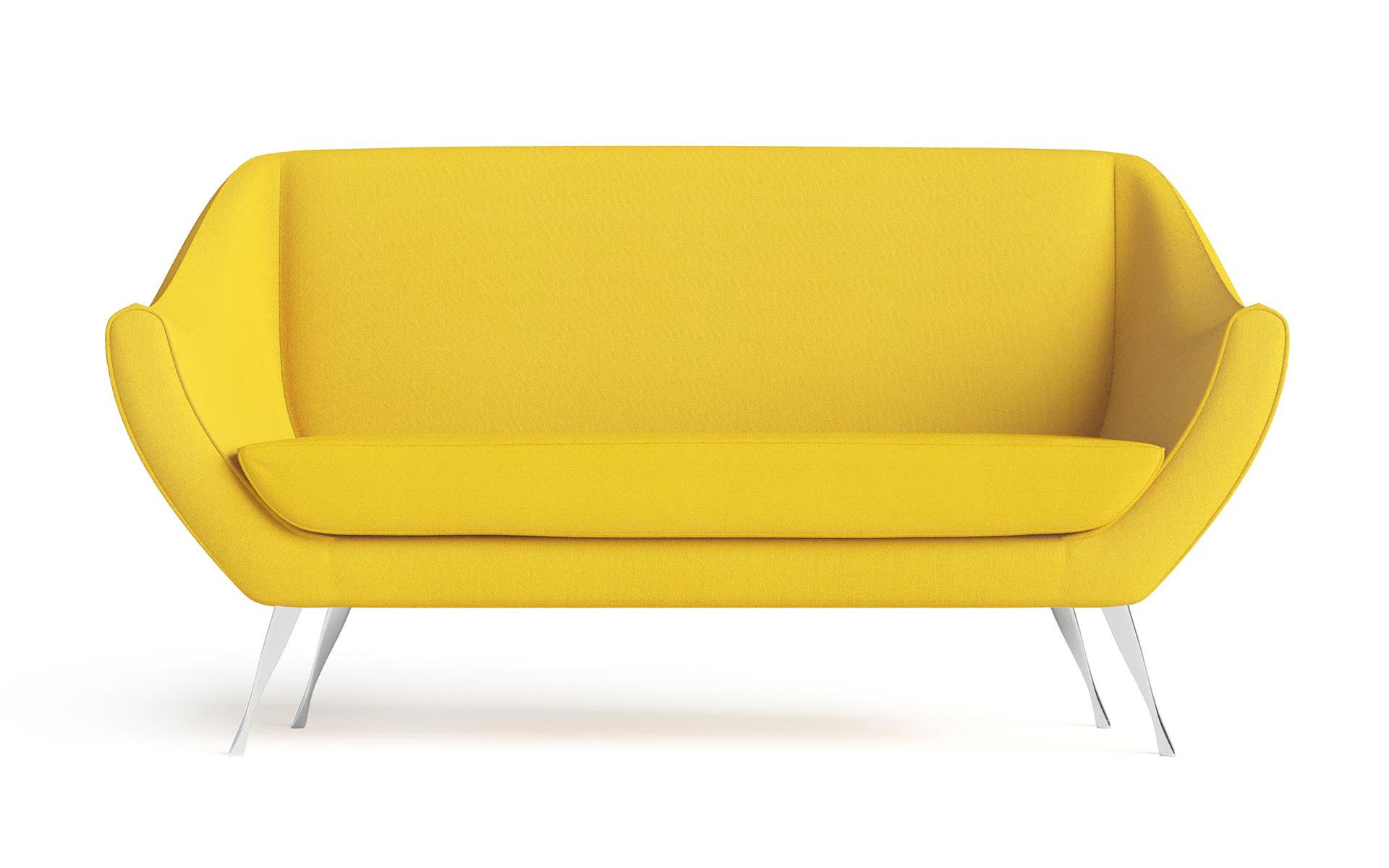 Rita Small Sofa Front CGI Rendering Yellow