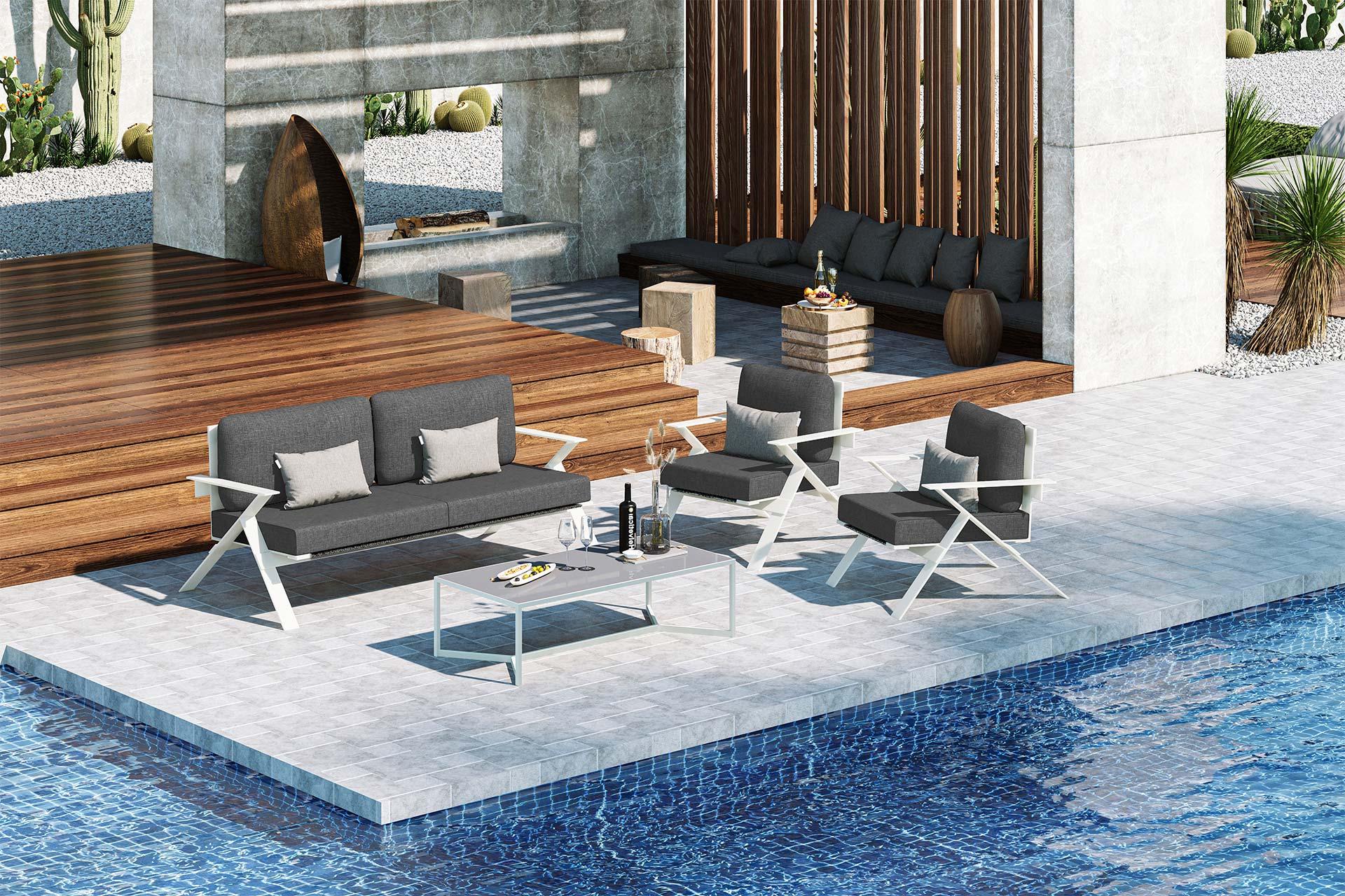 Stanley Large Sofa Set 3D Rendering Dark Grey