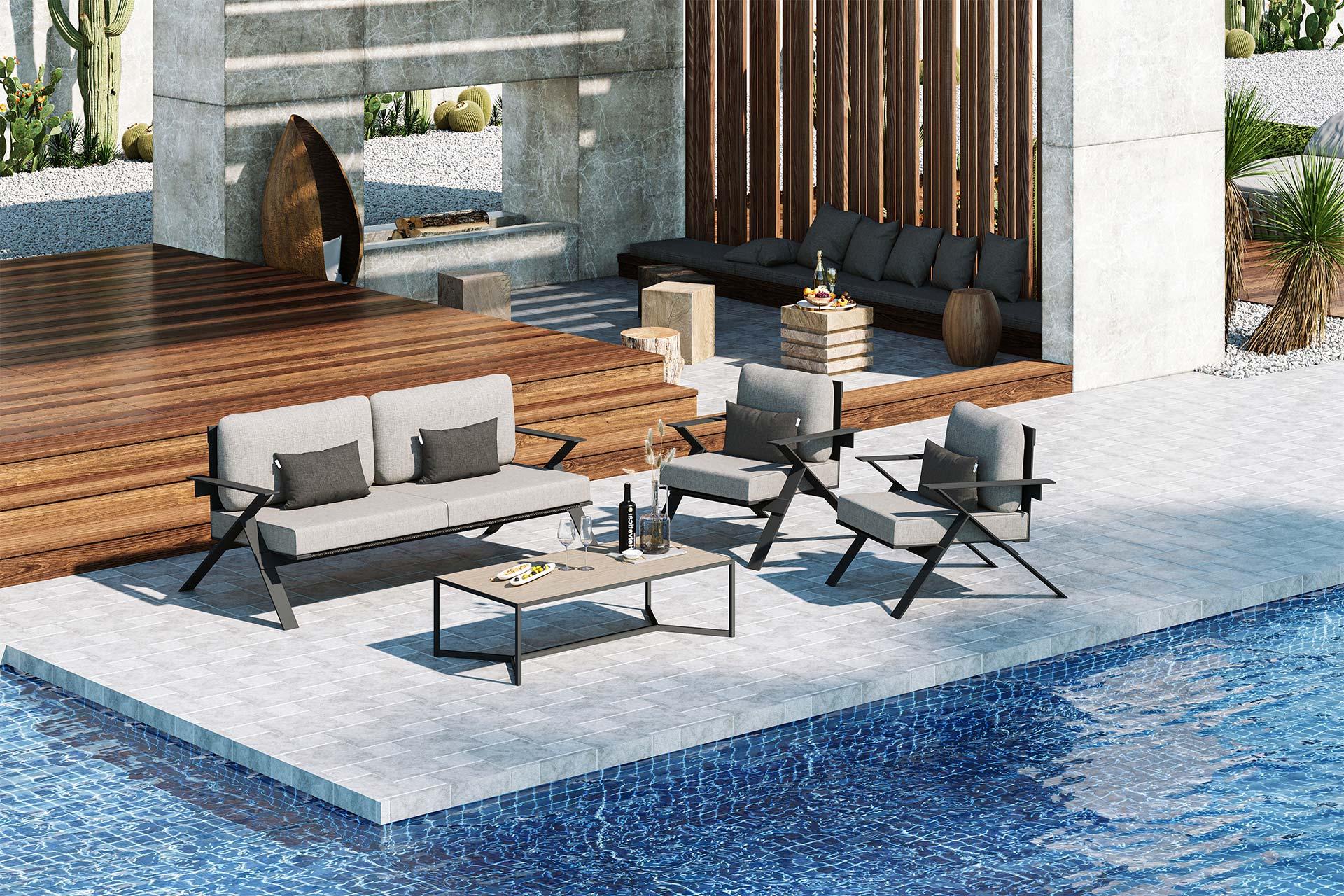 Stanley Large Sofa Set 3D Rendering Light Grey