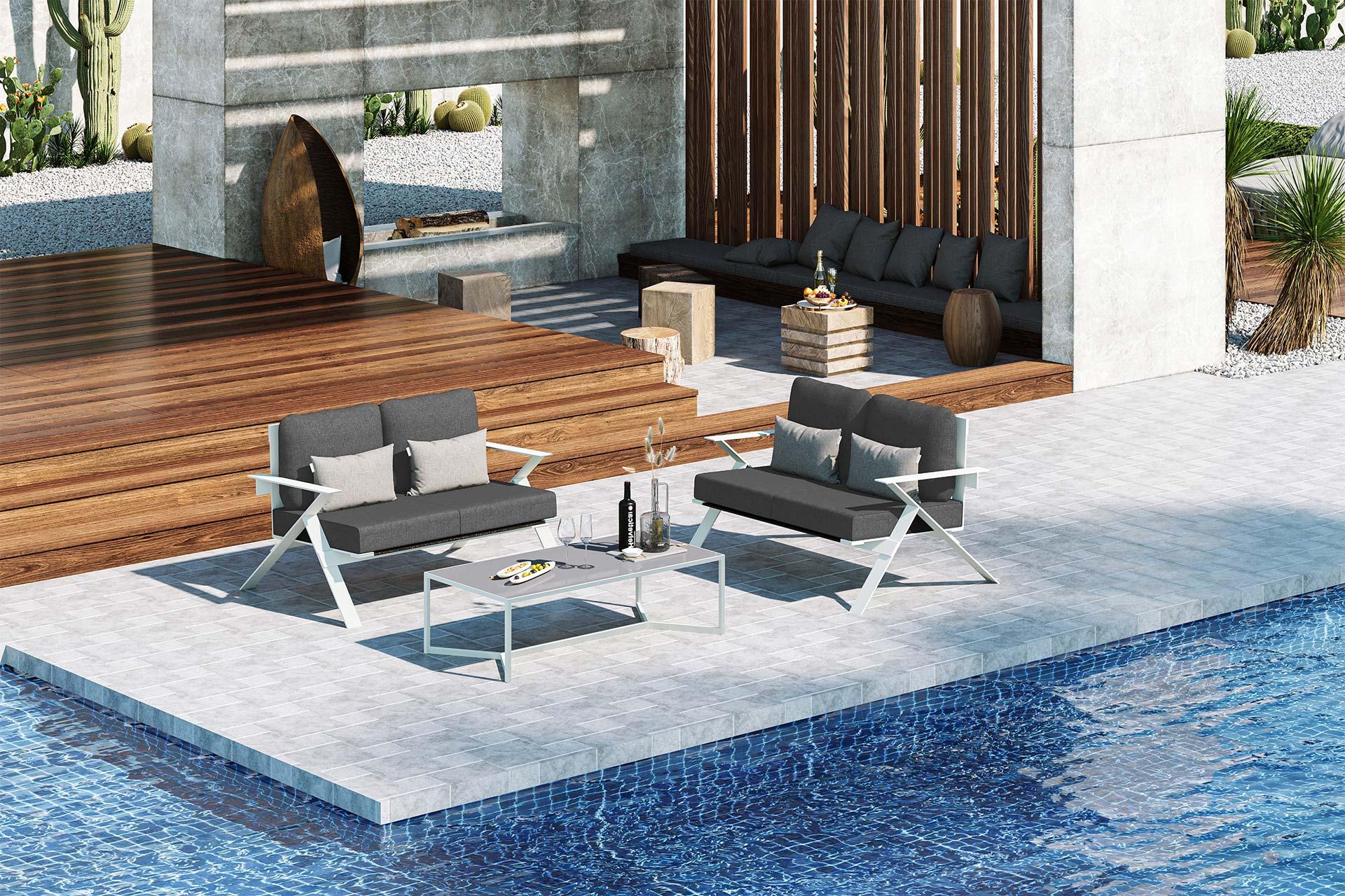 Stanley Small Sofa Set 3D Rendering Dark Grey