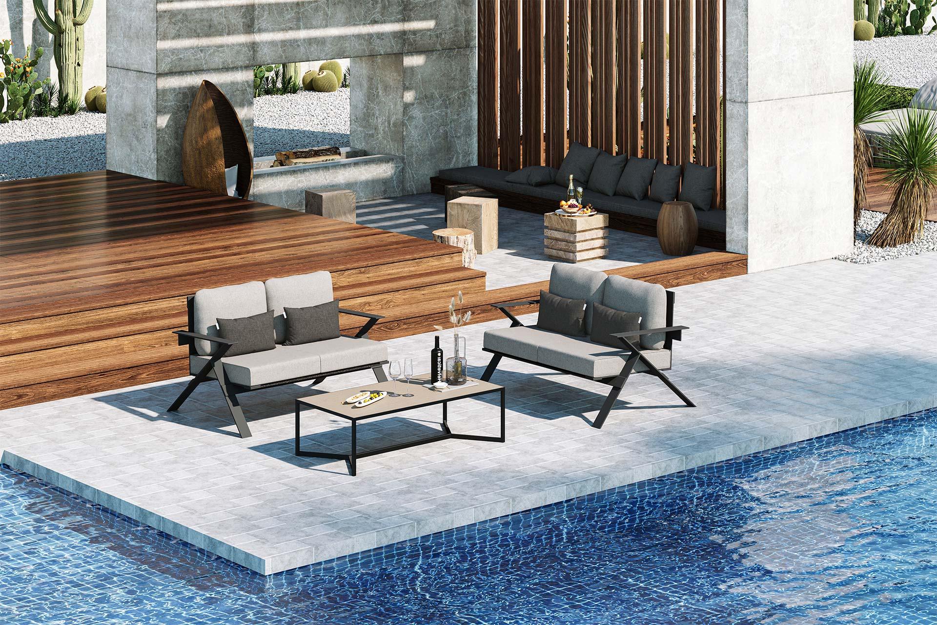 Stanley Small Sofa Set 3D Rendering Light Grey